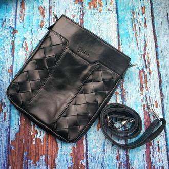 Кожаная сумка через плечо из натуральной кожи с ручным плетением GA-0021-3md  TARWA