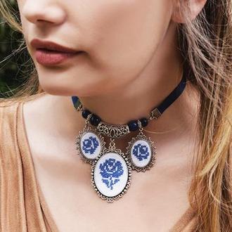 Темно-синє намисто з підвісками Кольє чокер на стрічці Намисто з лазуритом