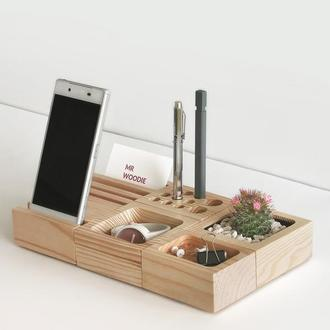 Деревянный органайзер - подставка, вазон, подставка для телефона, держатель для ручек