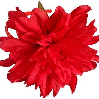 Обруч на голову с большим красным цветком