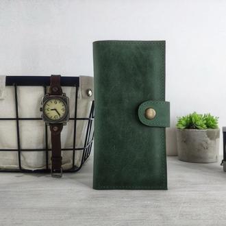 Зеленый мужской кошелек | подарки другу на др | БЕСПЛАТНАЯ ГРАВИРОВКА | Kozhemyaka ❤