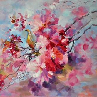 """Картина маслом """"Ніжність весни"""", квіти, 60х80 см"""