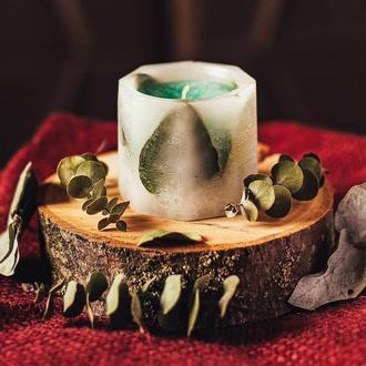 Восмигранные свечи с эвкалиптом - 2 шт