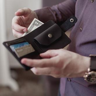 КошелекПортмоне классика с монетницей с застежкой Винтажная кожа цвет черный