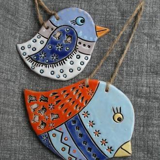 """Керамічні підвіски на стіну """"Пташки"""". Плакетки керамічні."""