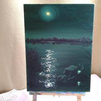 """Картина маслом """"Місячна доріжка на річці"""""""