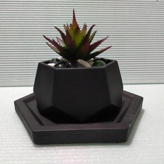 Горшок для цветов с подставкой,бетонное кашпо,кашпо для суккулентов (Код ЛОРОС) ➧ черный