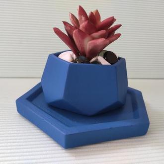 Горшок для цветов с подставкой,бетонное кашпо,кашпо для суккулентов (Код ЛОРОС) ➧ синий