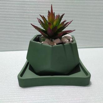 Горшок для цветов с подставкой,бетонное кашпо,кашпо для суккулентов (Код ЛОРОС) ➧ зеленый