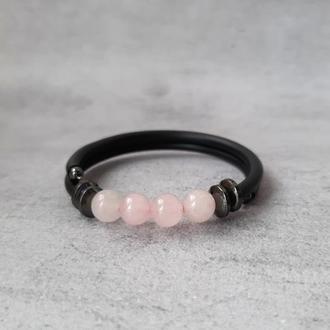 Браслет с розовым кварцем. Стильный женский браслет с натуральными камнями.