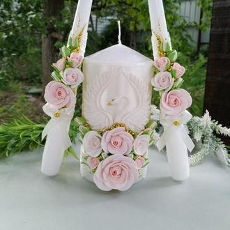 """Свадебные свечи """" Лебеди """" в цвете золото и розовая пудра"""