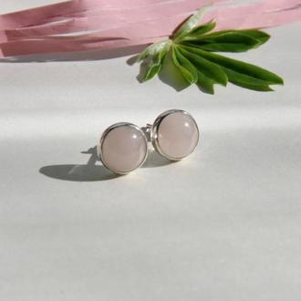 Серебряные серьги с розовым кварцем, серебряные серьги гвоздики с камнями, подарок