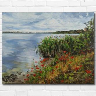 """Картина маслом """"Маки у реки"""" 35х45 см, холст на подрамнике, масло"""