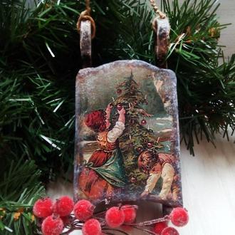 Елочная игрушка Новогодние сани Подарок на день св. Николая Новый год Рождество
