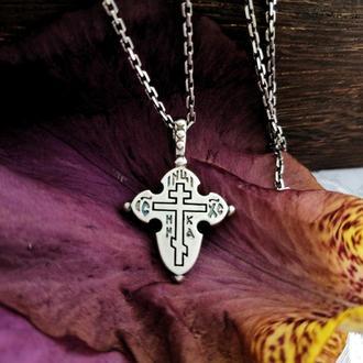 Крест нательный контурный «Спаси и сохрани»