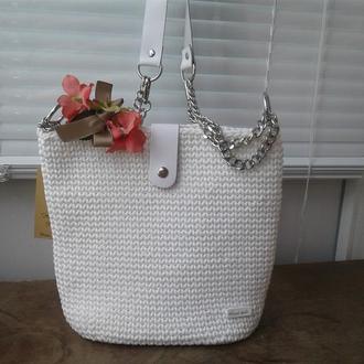 Женская сумка  Белые росы  Вязание