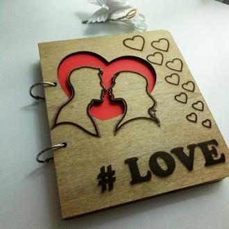 """Деревянный блокнот """"Любовь LOVE"""" (на кольцах с ручкой), ежедневник из дерева"""