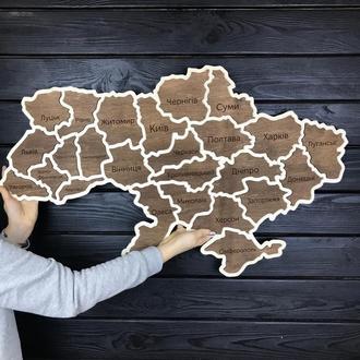 Деревянная декоративная настенная карта Украины