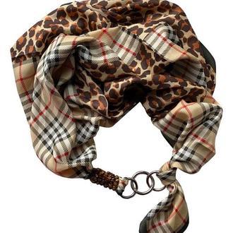 """""""Шоколадная страсть"""" атласный шарф, шелковый шарф, шарф ожерелье, шарф чокер, атласный платок,"""