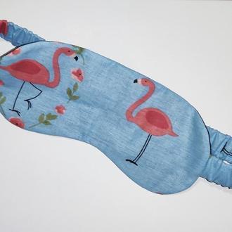 Голубая маска для сна / повязка на глаза с принтом фламинго ручной работы