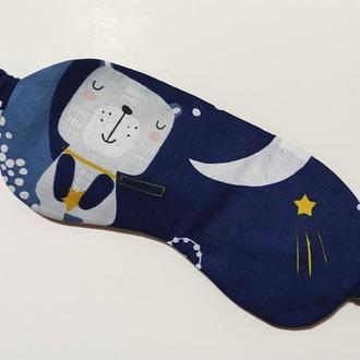 Темно-синя маска для сну / пов'язка на очі з принтом ручної роботи