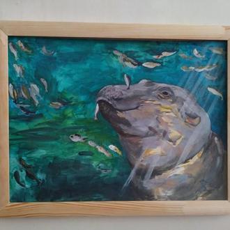"""Картина интерьерная """"Бегемотик и рыбки"""""""