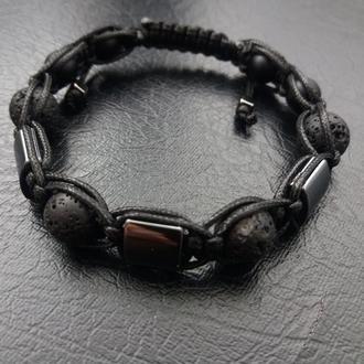 Стильный браслет, браслет Шамбала №20, шунгит, гематит
