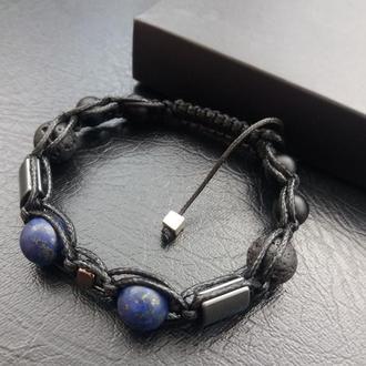 Стильный браслет, браслет Шамбала №10, лазурит, шунгит, лава