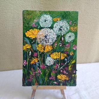 Картина маслом  Одуванчики в поле