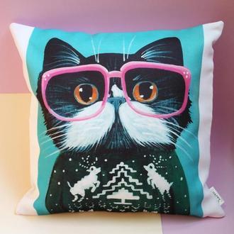 Декоративная подушка - кот киев, подарок киев, подушка - кот в очках Львов, подушка - кот хипстер