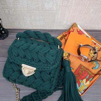 Хит сезона. Вязанная женская сумка зефирка из крупной пряжи, изумрудная сумка Киев Львов Одесса
