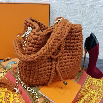 Стильная сумка из пряжи, кирпичного модного цвета. Сумка женска вязанная, кежуал. Киев Днепр