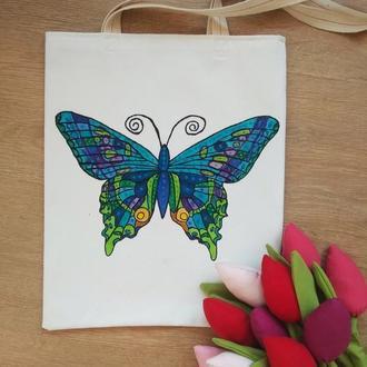 Сумка с бабочкой, экосумка с бабочкой, шоппер с бабочкой, белая джинсовая сумка