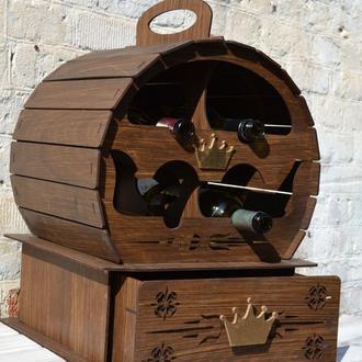 """Подставка для вина """"Винная бочка"""", Подставка под 4 бутылки, Мини-бар, подставка под бутылку"""