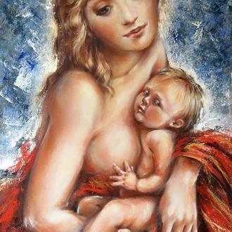Картина маслом на холсте Материнство