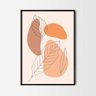 Графический постер Листья и пятна