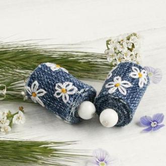 Летние серьги ромашки Серьги гвоздики с цветами Джинсовые сережки