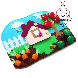 Развивающая игрушка Зайкин огород с овощами из фетра на липучках и кнопках