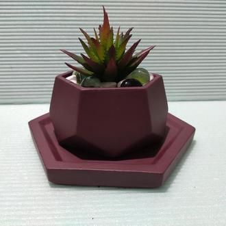 Горшок для цветов с подставкой,бетонное кашпо,кашпо для суккулентов (Код ЛОРОС) ➧ вишневый
