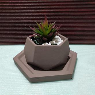 Горшок для цветов с подставкой,бетонное кашпо,кашпо для суккулентов (Код ЛОРОС) ➧ телесный