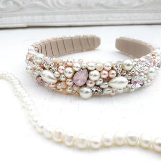Свадебный обруч с керамическим жемчугом и кристаллами в розово-бежевых оттенках, Тиара для невесты