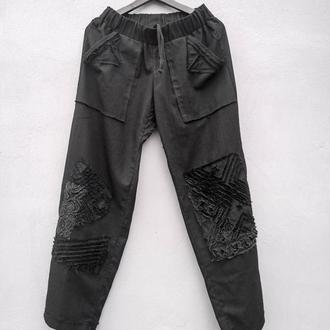 РукОтворно-фактурні штани кольору ночі