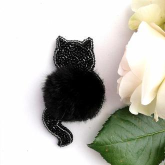 Брошь из натурального меха Кошка