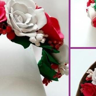 Шикарный обруч с крупными розами из фоамирана!