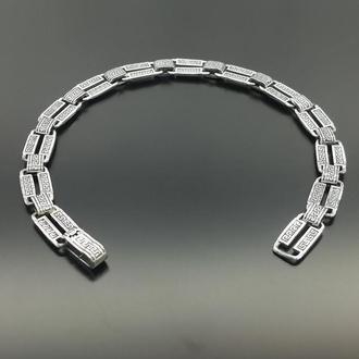 Литой серебряный браслет Меандр