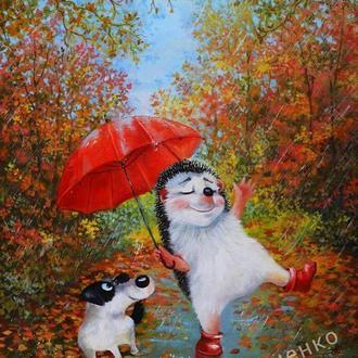 """""""красный зонт"""" картина маслом на холсте 50-40"""