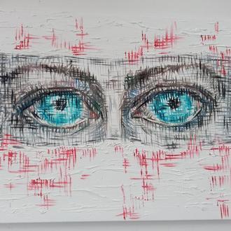 Картитна маслом ''Эти глаза'' Портрет в маске, врач, короновирус, холст, голубые глаза