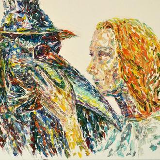 """Картина маслом """"Чумной доктор и его возлюбленная"""" портретная живопись, импрессионизм."""