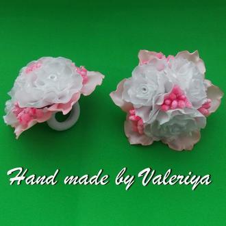 резинки букетики бело-розовые