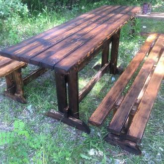 Деревянный стол.Лавка.Комплект садовой мебели.Обожженное дерево